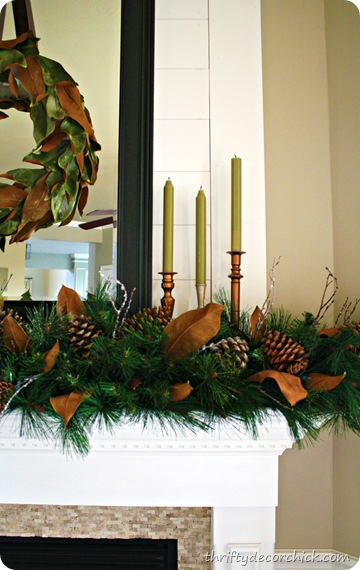 magnolia Christmas mantel 
