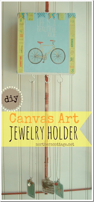 DIY canvas jewelry holder @NorthernCottage.net
