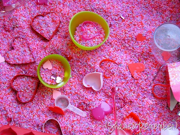 Valentine Rice Sensory Bin -