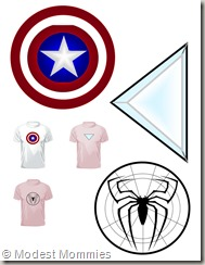 Super Hero T-Shirt Costumes - Cap Amer Iron Man Spidey