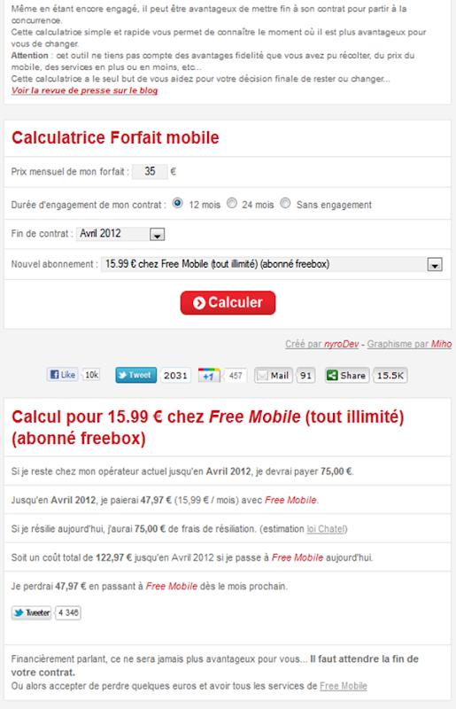 Simulateur en ligne pour savoir s'il est rentable de passer chez Free mobile