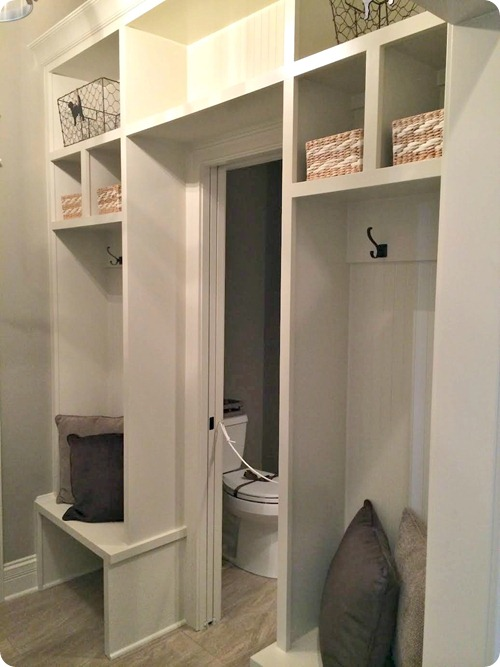 mud room built ins around door