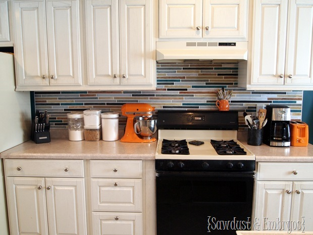 The finished look of this painted backsplash is an upgrade from our old one.