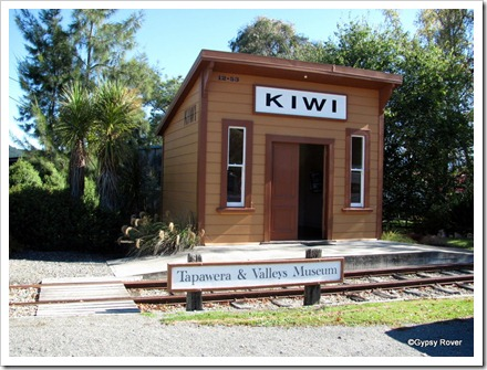 Replica of the Kiwi railway station at Tapawera. It was here women chain themselves to the rails to halt closure of the line.