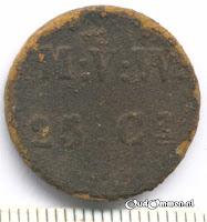Afb. 6 kolonie geld  M:V:W 25 cent