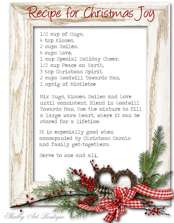 Shabby Art Boutique - Recipe for Christmas Joy 2