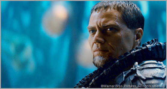 Michael Shannon plays General Zod, a villian who loves to hear himself sound menacing. CLICK to visit the official MAN OF STEEL site.
