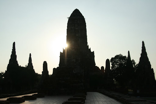 A silhouetted Wat Chai Watthanaram as the sun goes down.