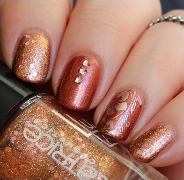 Autumn Nail Art Herbst Nageldesign Mix Match Skittle Copper 05