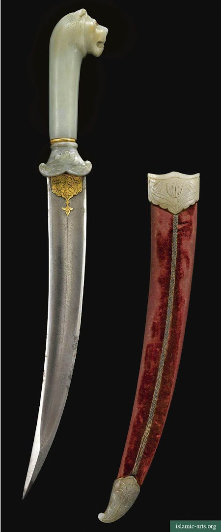 A MUGHAL GEM-SET JADE-HILTED DAGGER, INDIA