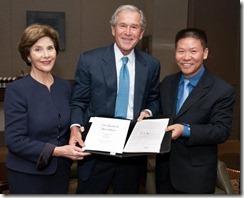 Bob Fu with President Bush and Laura in Dallas 11-01-2011