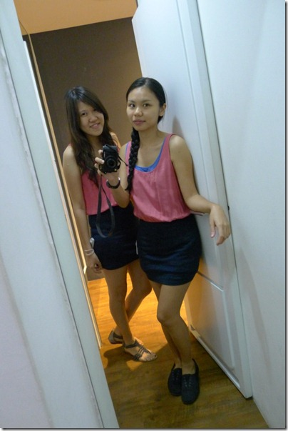 two pink-black dresses