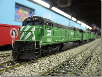 IMG_5459 Burlington Northern U30C #5341 on the LK&R HO-Scale Layout at the WGH Show in Portland, OR on February 17, 2007