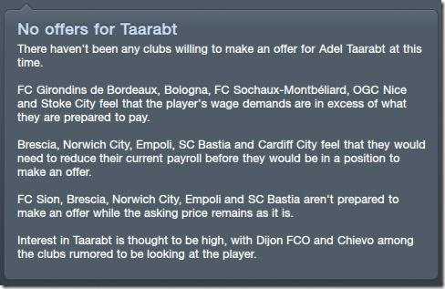 No offers for Taarabt