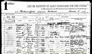 Ellis Island manifest for ship Kristianiafjord