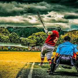 HDR Home Run Hit by Paulo Hodgson - Sports & Fitness Baseball ( home, hdr, baseball, homerun, softball, run )