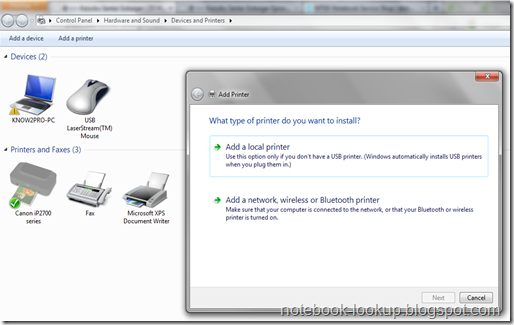 how to add printer in xp