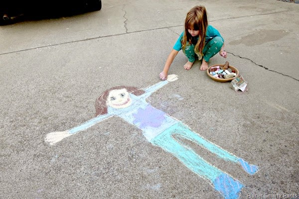 Life Size Chalk Drawing
