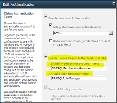 Edit Authentication configuration page of the SharePoint Central Administration.