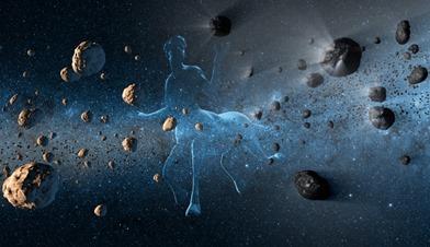 ilustração de Centauro com asteroides e cometas
