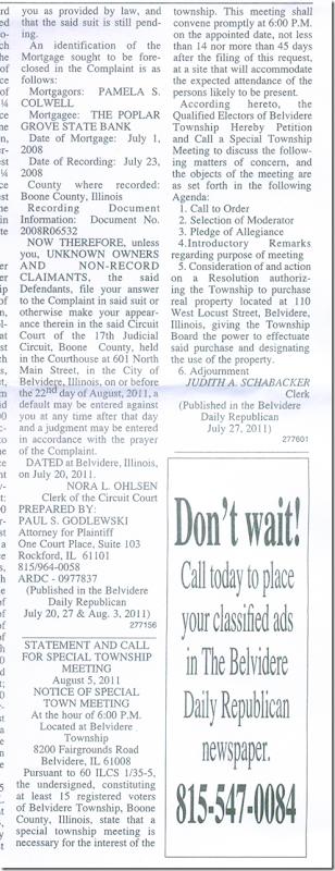 Township Legal Notice