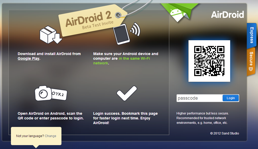 airdroid website opened