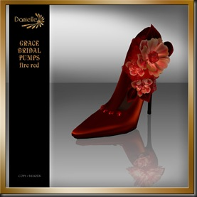 DANIELLE Grace Bridal Pumps Fire Red'