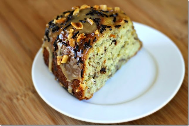 Banana Chocolate Sprinkle Cake with Peanut Butter Glaze2