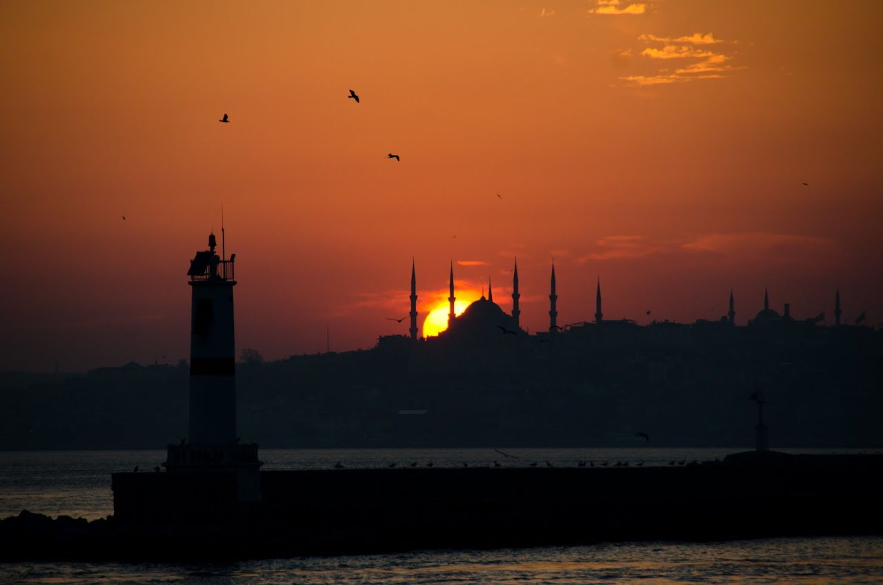 Sun setting over Hagia Sophia