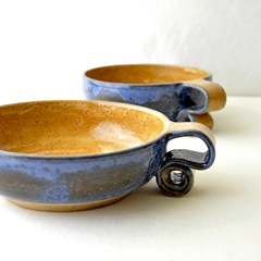 scroll handle ceream bowls by glazedOver Pottery