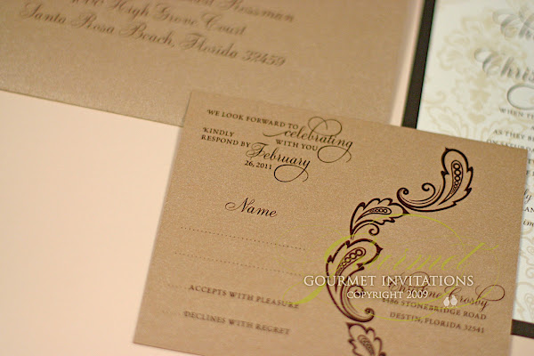 Christine Christopher Brown Sugar Damask Wedding Invitations