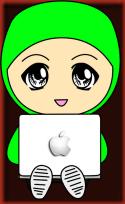 Doodle Muslimah Main Laptop Hijau