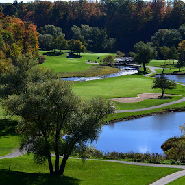 Glen Abbey Golf in the Fall by Marc Loranger - Sports & Fitness Golf ( water hazard, golf course, autums, golf, landscape )