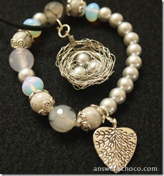 Bird's Nest Pendant and Leaf Bracelet