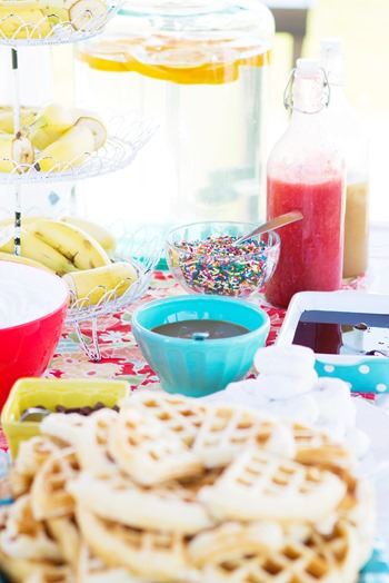 waffle party, breakfast birthday party, colorful party, two year old party,