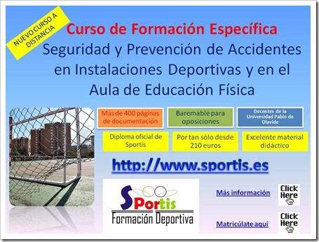 SPORTIS lanza el Curso de Formación Específica a distancia Seguridad y Prevención de Accidentes en Instalaciones Deportivas y en Aula E. Física.
