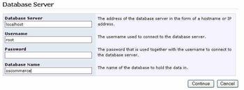 Fournir les informations de la base de donnée pour installer oscommerce