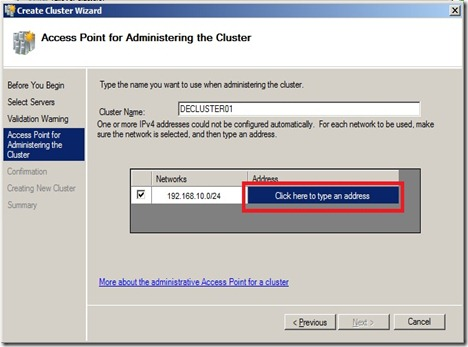 Access Point for Administering the Cluster