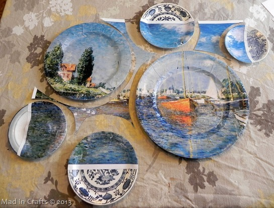 Use poster remnants to arrange plates