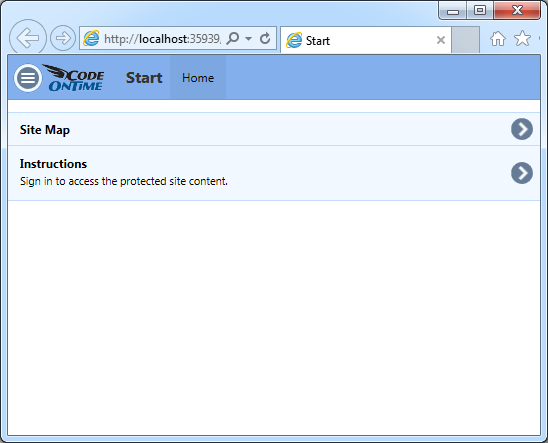 The default home page of a single page app created with Code On Time.