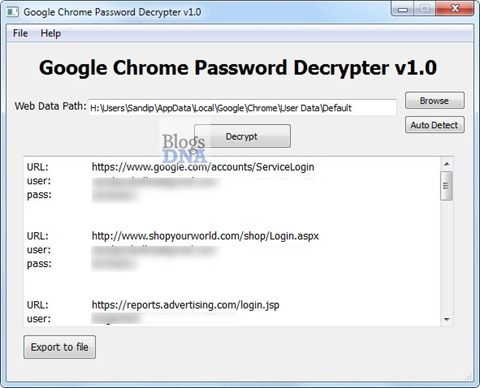 Google-Chrome-Password-Decrypter