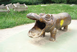 A hippo for kids to crawl through, at Letna Park