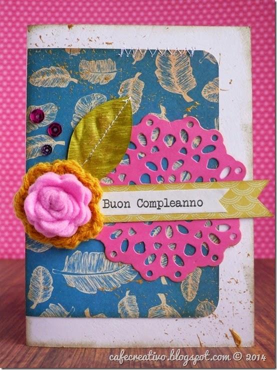 AnnaDrai - cafe creativo - sketch card SKA - rosa centrino