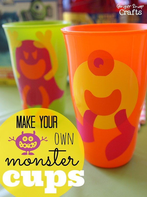 Make Your Own Monster Cups #MUJuice #gingersnapcrafts #tutorial