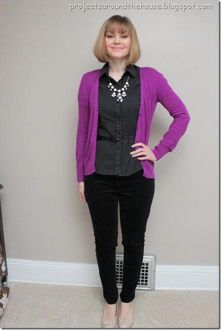 purple cardigan, belted button down, skinny pants, bubble necklace
