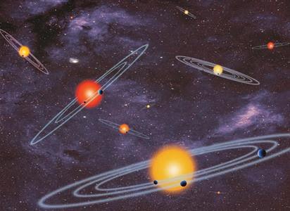 ilustração de sistemas planetários múltiplos