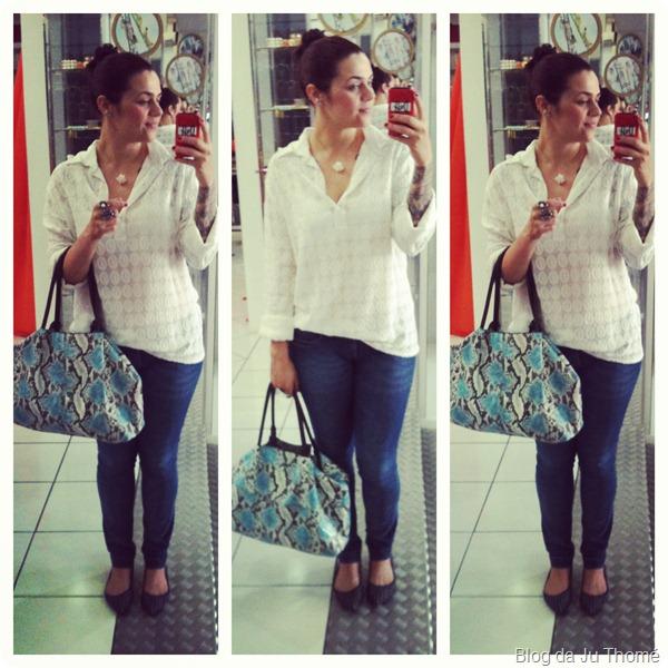 look básico com jeans e camisa branca