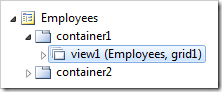 'View1' data view on Employees page in Code On Time Project Explorer.