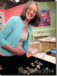Sue Reno on the set of Quilting Arts Tv