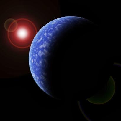 ilustração de um dos exoplanetas em torno da anã vermelha